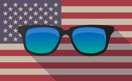 visions of america: Illustration of a long shadow vector USA flag icon with   a sunglasses icon