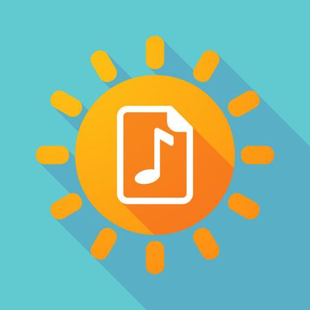 partition musique: Illustration d'un soleil de longue ombre avec une ic�ne de partition