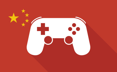 game pad: Illustration of a China long shadow flag with   a game pad