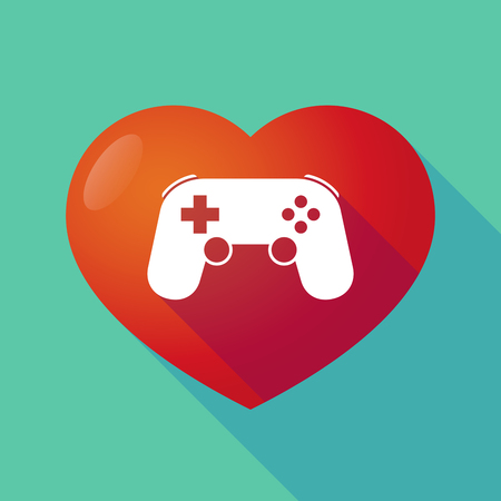 game pad: Illustration of a long shadow red heart with  a game pad Illustration