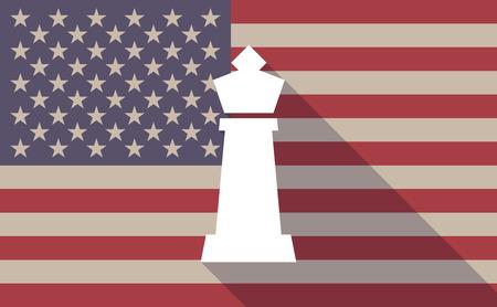 Illustration eines langen Schatten Vektor-USA-Flagge-Symbol mit einem König Schachfigur Standard-Bild - 56817764