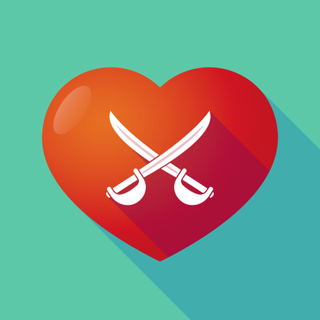 sword and heart: Illustration of a long shadow red heart with  two swords crossed