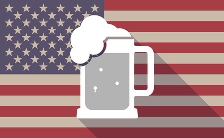 beer jar: Illustration of a long shadow vector USA flag icon with   a beer jar icon