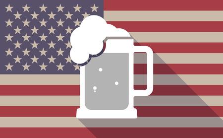 tarro cerveza: Ilustración de un icono de la bandera EE.UU. larga sombra vector con el icono de jarra de cerveza