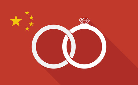 asian wedding couple: Illustration of a China long shadow flag with   two bonded wedding rings
