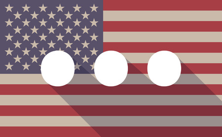 orthographic: Illustration of a long shadow vector USA flag icon with   an ellipsis orthographic sign