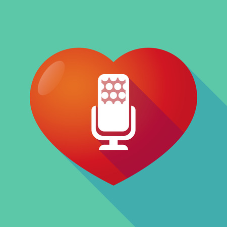 seduction: Illustration of a long shadow red heart with  a microphone sign