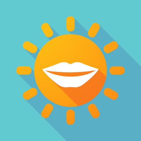 long mouth: Illustration of a long shadow sun with  a female mouth smiling