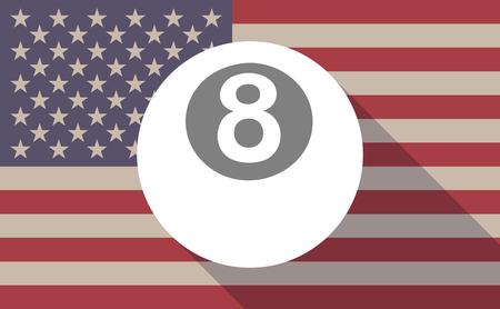 bola de billar: Ilustraci�n de un icono de la bandera EE.UU. larga sombra vector con una bola de billar