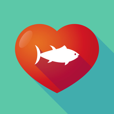 tuna fish: Illustration of a long shadow red heart with  a tuna fish