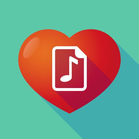 partition musique: Illustration d'un coeur rouge longue ombre avec une ic�ne de partition