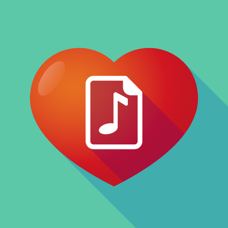 music score: Illustration of a long shadow red heart with  a music score icon
