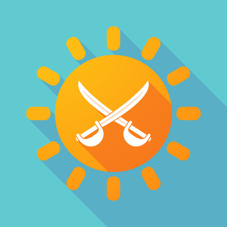 Illustration of a long shadow sun with  two swords crossed Illustration