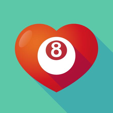 bola de billar: Ilustraci�n de un coraz�n rojo sombra larga con una bola de billar Vectores