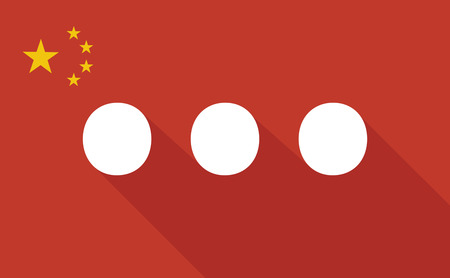 ellipsis: Illustration of a China long shadow flag with   an ellipsis orthographic sign Illustration