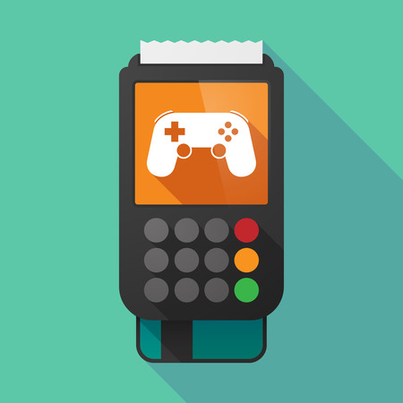 game pad: Illustration of a long shadow dataphone with  a game pad