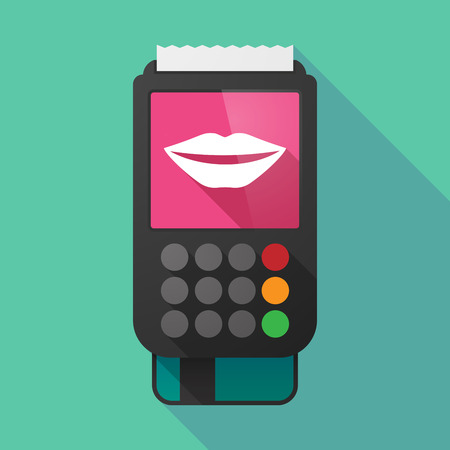 long mouth: Illustration of a long shadow dataphone with  a female mouth smiling