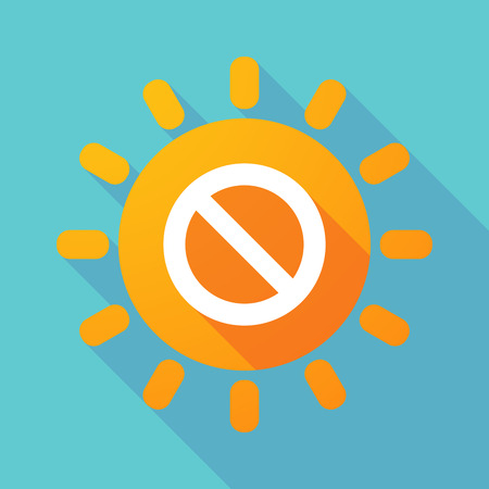 Illustration of a long shadow sun with  a forbidden sign