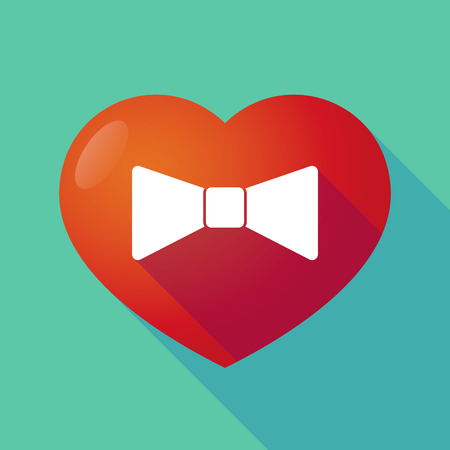 seduction: Illustration of a long shadow red heart with  a neck tie icon Illustration