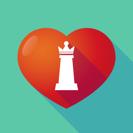 romance strategies: Illustration of a long shadow red heart with a  queen   chess figure