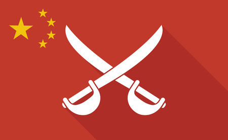 Illustration of a China long shadow flag with   two swords crossed