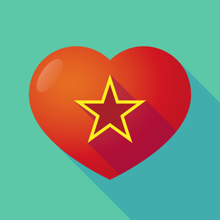 communism: Illustration of a long shadow red heart with  the red star of communism icon