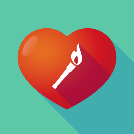 winning proposal: Illustration of a long shadow red heart with  a torch icon