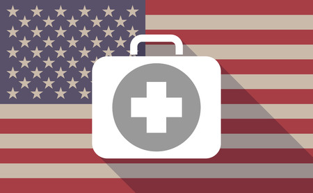 cross bar: Illustration of a long shadow vector USA flag icon with   a first aid kit icon