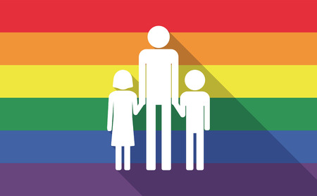 single parent: Illustration of a long shadow gay pride flag with a male single parent family pictogram