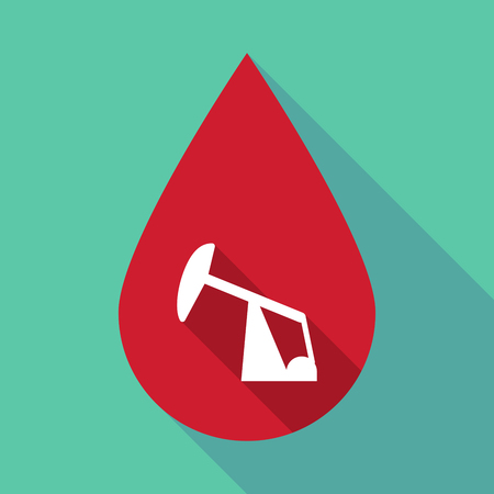 horsehead pump: Illustration of a long shadow blood drop with a horsehead pump