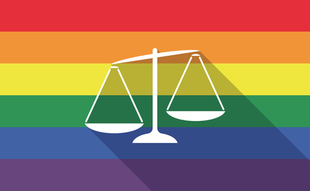 verdicts: Illustration of a long shadow gay pride flag with  an unbalanced weight scale