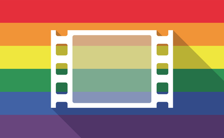 documentary: Illustration of a long shadow gay pride flag with a film photogram Illustration