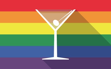 Illustration of a long shadow gay pride flag with a cocktail glass