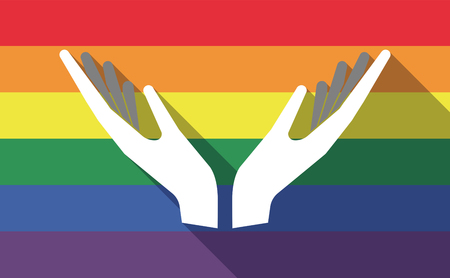sexual orientation: Illustration of a long shadow gay pride flag with  two hands offering