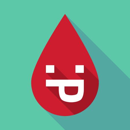 sticking out tongue: Ilustraci�n de una gota de sangre larga sombra con una cara de texto lengua fuera