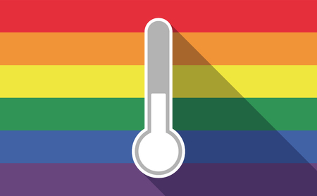 sexual orientation: Illustration of a long shadow gay pride flag with  a thermometer icon
