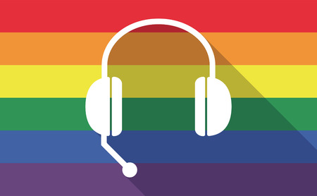 hands free device: Illustration of a long shadow gay pride flag with  a hands free phone device Illustration
