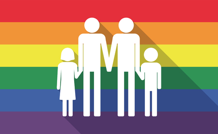 Illustration of a long shadow gay pride flag with a gay parents  family pictogram
