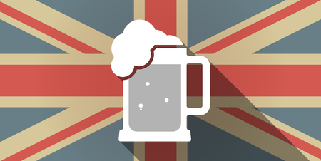 beer jar: Illustration of a long shadow UK flag icon with  a beer jar icon Vectores