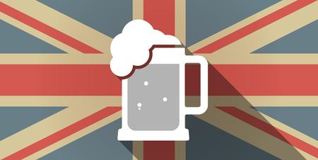 tarro cerveza: Ilustración de un icono de la bandera larga sombra del Reino Unido con un icono de jarra de cerveza