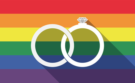 gay wedding: Illustration of a long shadow gay pride flag with  two bonded wedding rings