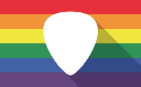 plectrum: Illustration of a long shadow gay pride flag with a plectrum Illustration