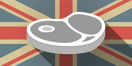 Illustration of a long shadow UK flag icon with  a steak icon Ilustrace
