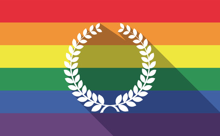 sexual orientation: Illustration of a long shadow gay pride flag with  a laurel crown sign