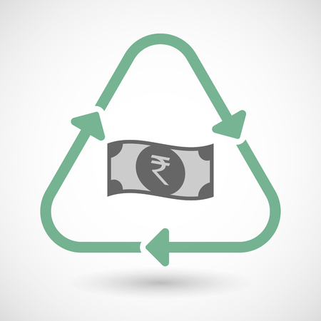 cash cycle: Vector illustration of a line art recycle sign icon with  a rupee bank note icon
