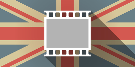 35mm: Illustration of a long shadow UK flag icon with   a photographic 35mm film strip