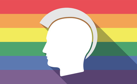 punk hair: Illustration of a long shadow gay pride flag with  a male punk head silhouette