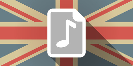 music score: Illustration of a long shadow UK flag icon with  a music score icon Illustration