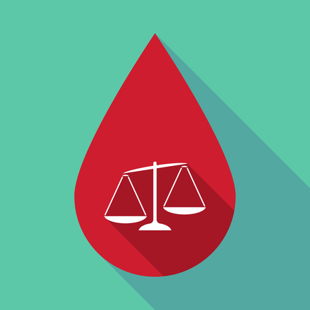 Illustration of a long shadow blood drop with an unbalanced weight scale