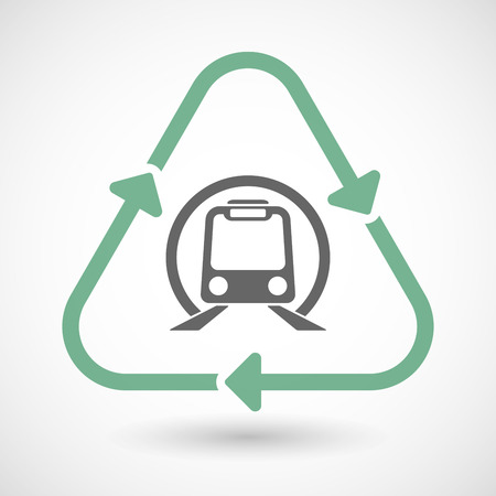 subway train: Vector illustration of a line art recycle sign icon with  a subway train icon Illustration